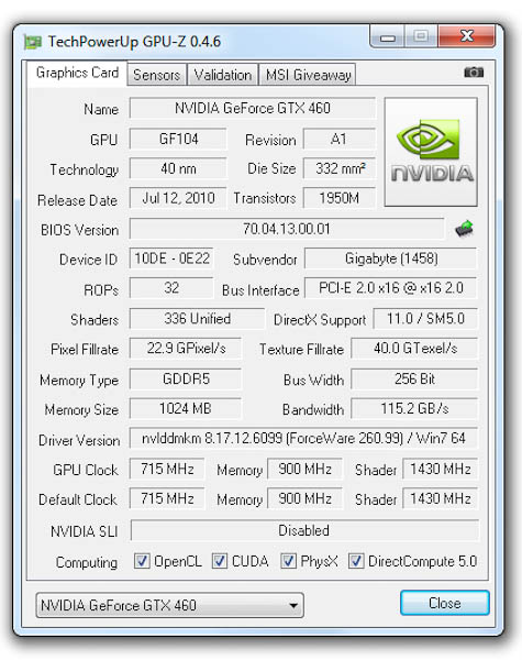 GPU-Z Gigabyte GeForce GTX 460 1GB